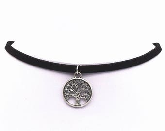 short Choker tree of life, neck is happiness, tree of life necklace, Bohemian black necklace, silver Choker Bohemian Choker, tree of life