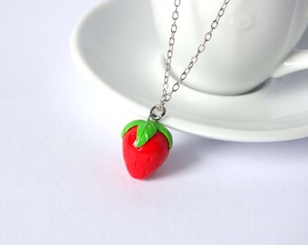 Strawberry necklace charm pendant fruit kawaii cute handmade polymer clay
