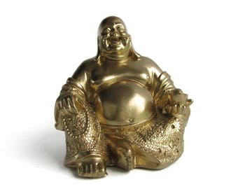Happy Sitting Buddha Statue In Gold   Meditation Gifts For Women   Gift For  Her