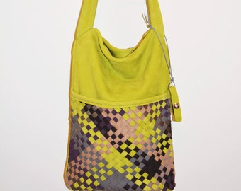 leather bag with braided stripes/neon green