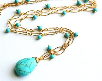 Gold Turquoise Pendant Necklace, Blue Drop Necklace, Wire Wrapped, Gold Filled, Teardrop Wedding Necklace, December Birthstone
