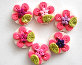 Button Tropical Flowers handmade polymer clay buttons ( 6 )