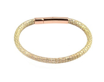 Women's Leather Bracelet Metallic Lizard Print patterned Stitched Two Tone Opal