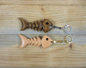 Wooden Key Chain Wood Key Chain Wooden Keychain Wooden Key Ring Hand Carved Key Chain Gift For Him Gift For Her Fish Bone Fish Key Chain