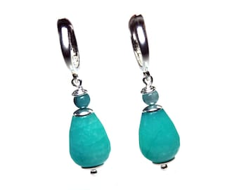 Earrings Casssic – Sterling silver, Turquoise Jade EnJaspis 615
