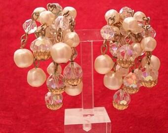 1950s Faux Pearl & AB Clip-on Waterfall Earrings (3123)