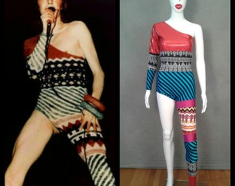 MADE TO ORDER Limited Edition David Bowie Inspired One Shoulder-One Leg Bodysuit Costume