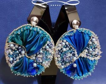 Bead embroidery earrings , handmade earrings , big earrings , blue earrings , elegant earrings , Swarovski crystals ,  light earrings , silk