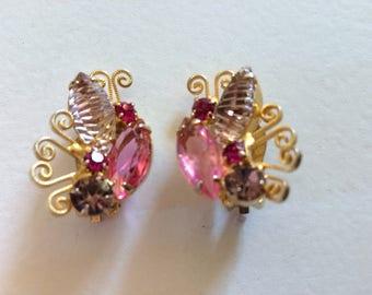 DELIZZA & ELSTER Juliana Rhinestone 'Butterfly' Clip On Earrings