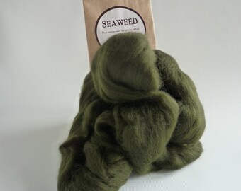 Dark green merino roving, 25g (1oz) Seaweed, 21 micron, merino roving,  merino tops, felting wool, needle felting, wet felting