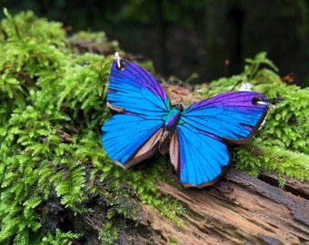 Blue Morpho Butterfly Necklace | Whimsical Butterfly Necklace | Blue Butterfly Pendant | Wooden Jewelry