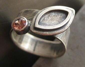 Leaf Ring.  Sunstone.