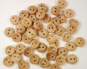 """Wood Buttons 5/8"""" Two Hole 16 mm - 50 Pieces"""