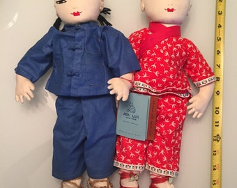 Ada Lum Dolls/PAIR/ Cloth Dolls/Rag Doll/ Cloth Asian Doll/ Chinese Doll/ Mid Century Doll/ Asian Doll/ By Gatormom13 JUST REDUCED