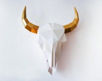 Bison Skull, Bison Sculpture, DIY Wall Art, Paper Trophy, 3D Paper Craft, DIY Printable Paper Art, Home decor, Interior, Pdf download