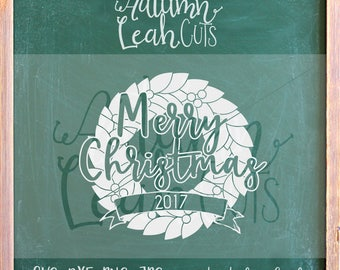 Merry Christmas - Wreath -- SVG, PNG, Jpeg, DXF cut file for Silhouette, Cricut -- Instant Download Clipart - Christmas Printable Art