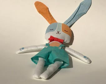 Daddy Bunny Rabbit - Stuffed Handmade Doll