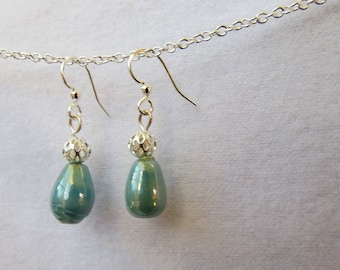 Aqua ceramic drops with filigree silver bead accent earrings