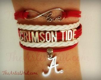 Free Shipping!!Alabama CRIMSON TIDE  Infinity Love Bracelet with the Alabama A