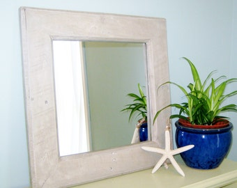 """Rustic Farmhouse Mirror in Driftwood Stain 17.5"""" x 17.5"""" Wood Mirror Recycled Reclaimed Wood Mirror Rustic Mirror"""