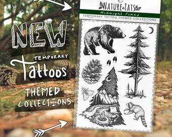 Midnight Pines Themed Collection ~ Original Temporary Tattoo Designs, Bear, Pine Tree & Saplings, Pinecone, Raccoon, Moth, Deer Tracks, Moon