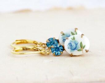 Blue Earrings - Aquamarine - Jewel Earrings - Flower Cameo Earrings - Brass Drop Earrings - Vintage Cameo Earrings - Pretty Earrings