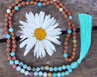 Amazonite Mala | Gift for Yoga Lover | Spiritual Gift | Yoga gifts | Mala beads | Meditation Beads | Mala | Mala Beads | Yoga Necklace