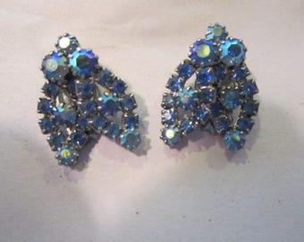 AB rhinestone clip earrings blue rhinestones vintage clip earrings