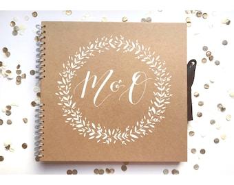 Medium kraft scrapbook, guest book, baby book, personalised, typography, gift