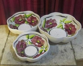 Set of Three Scallop Bowls