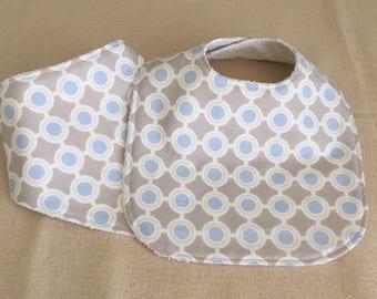 Boy's Gray and LIght Blue Bib Set - Bib Plus Bandana