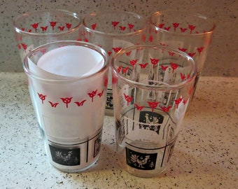 SEVEN Swanky Swig Glasses/Red and Black Glasses/Hazel Atlas/Vintage Juice Glasses