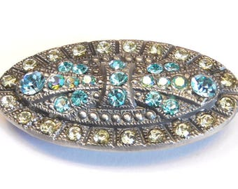 One 2 Hole Slider Bead Focal 45mm Art Nouveau Design Studded With Aqua Marine Jonquil & Aqua Marine AB Swarovski Crystal Antique Silver Tone