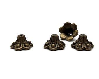 20 bead caps 10 mm - Cup antique bronze cone 10 mm - Cup Tibetan - A214