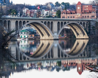 Keyhole - The Key Bridge in Georgetown is Reflected in Evening Twilight. DC Cityscape Photographic Print