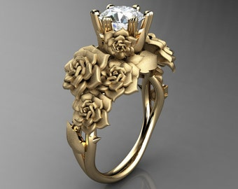 Nature Inspired 14K Yellow Gold 1.0 Ct Simulated Diamond Cubic Zirconia Rose Bouquet Leaf and Vine Engagement Ring R427-14KYGSCZ