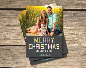 Colorful Steel Merry Christmas Holiday Photo Card- 5x7
