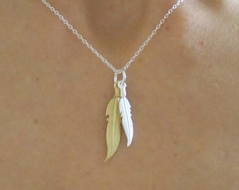 Gold and Silver Two FEATHERS sterling silver charm with chain, Navajo feather necklace, Tribal necklace, charm necklace