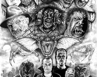 Horror Monster Montage - A3 Print