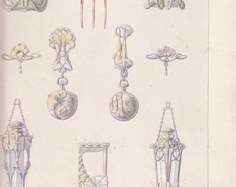 "Antique French Art Nouveau Print BIJOUX  Artist Maurice Daurat 10"" X 14.5"""