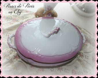 Antique Pink Lusterware covered dish ~ Victorian pink luster oval veggie dish w/lid ~casserole~HARD TO FIND!