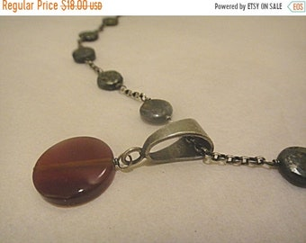 SaLE - Lovely Vintage Sterling Rolo Chain Necklace with Carnelian Disk Pendant On Sterling Bail (282)