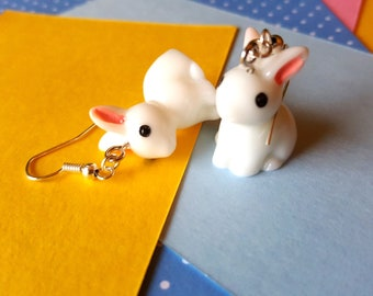 miniature rabbit earrings, cute animal jewelry, mini animals, bunny earrings, white bunnies