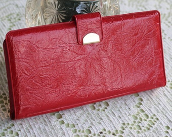 Vintage 1960's Embossed Vinyl Wallet / Billfold With Coin Purse