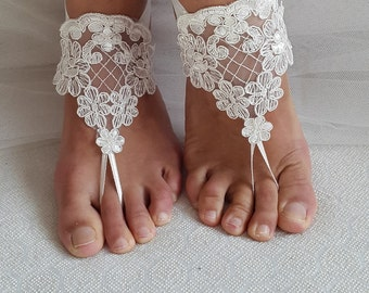 barefoot sandals,ivory lace shoes, wedding sandals, bridal accessories, bride gift