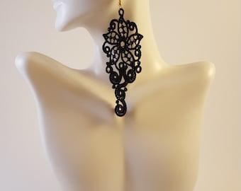 Black lace earrings Lace jewelry Statement earrings Womens Fashion Lace earrings Long earrings Drop earrings Dangle earrings