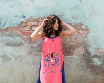 Large to XL Coral peach and cobalt blue and multi colored One of a kind Hand Embroidered Mexican Spaghetti strapped dress