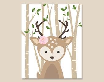 DEER Art Print, Deer with flower Illustration, Woodland Animals Posters, Forest Friends Wall Art Decor Animals Poster, YOU Choose Animals