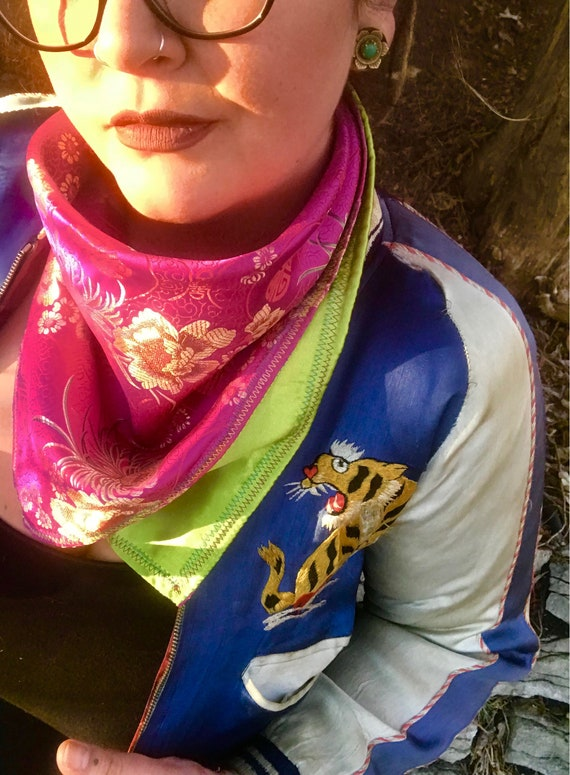 READY TO SHIP-Hot Pink/Red/Gold Imported Silk Brocade-Snapback Bandana-Lime Green Satin Liner-Bandana-Scarf-Fancy Neck Swag