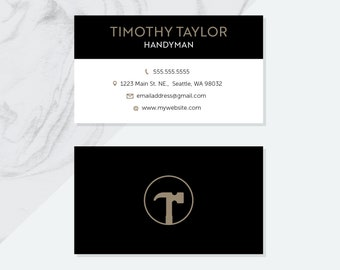Printable business card baked sweetly cupcake soft blue badge premade handyman business card design pdf digital files pre made business cards pre made handyman design business card design pdf file reheart Image collections